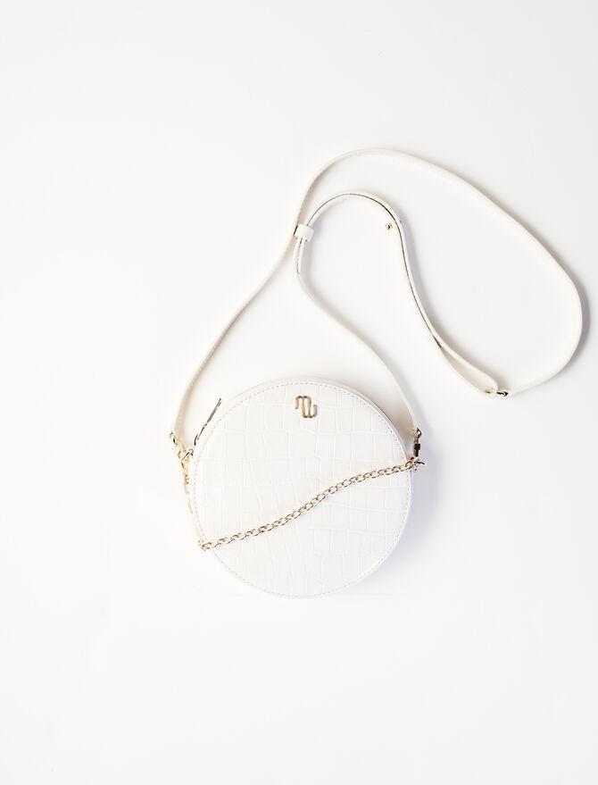 Round embossed leather handbag - Shoulder bags - MAJE