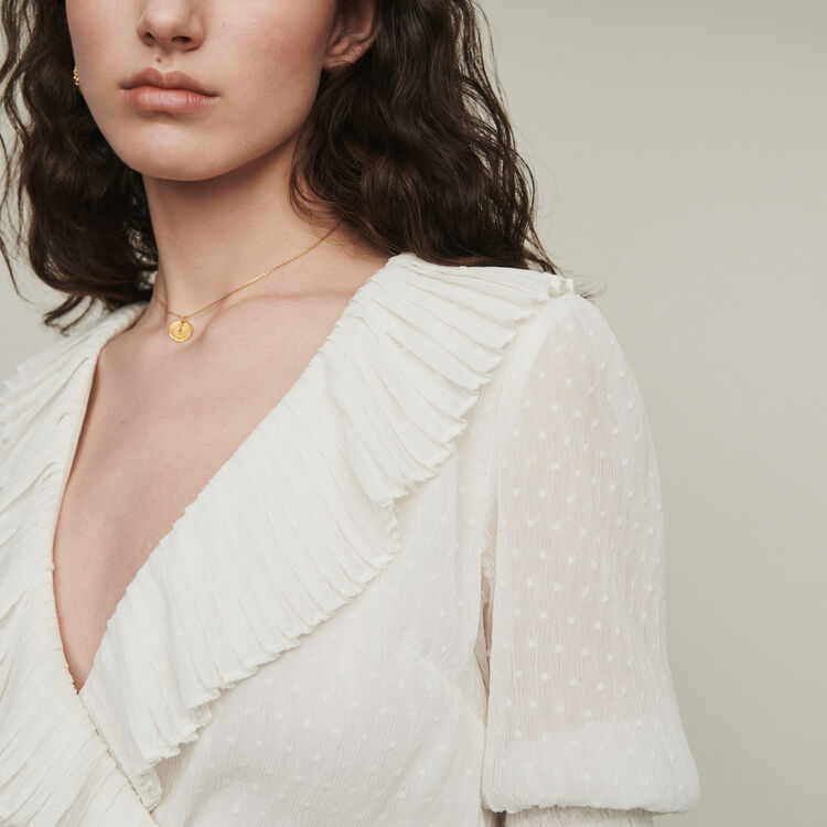 Cropped ruffled top in Swiss dot : Tops & Shirts color White