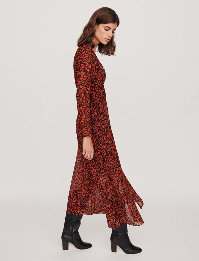 Printed-muslin scarf dress - robes - MAJE