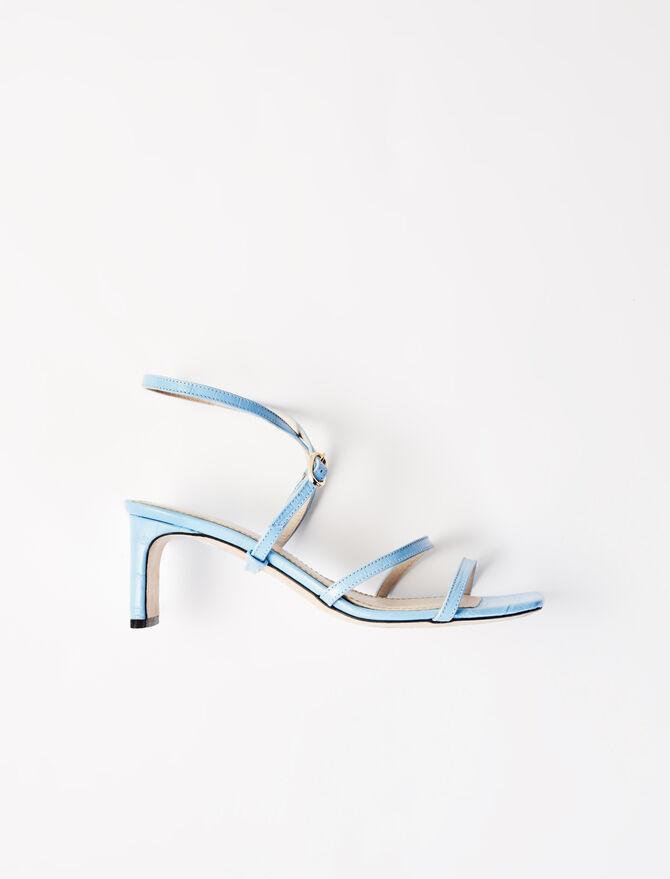 Embossed leather midi-heeled mules - Slipper - MAJE
