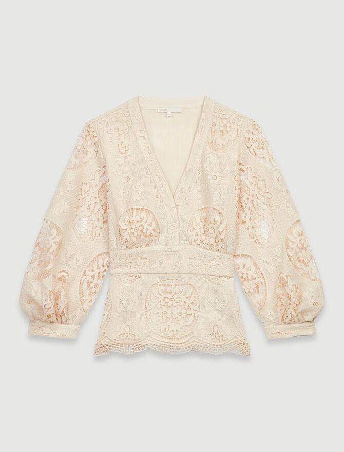 Guipure blouse with peplum - Tops & Shirts - MAJE