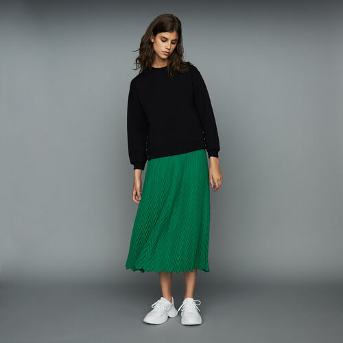 Long pleated chevron skirt : Skirts & Shorts color GREEN