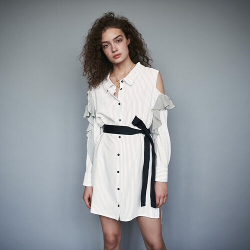 Striped ruffled shirt dress : Winter collection color White / Black