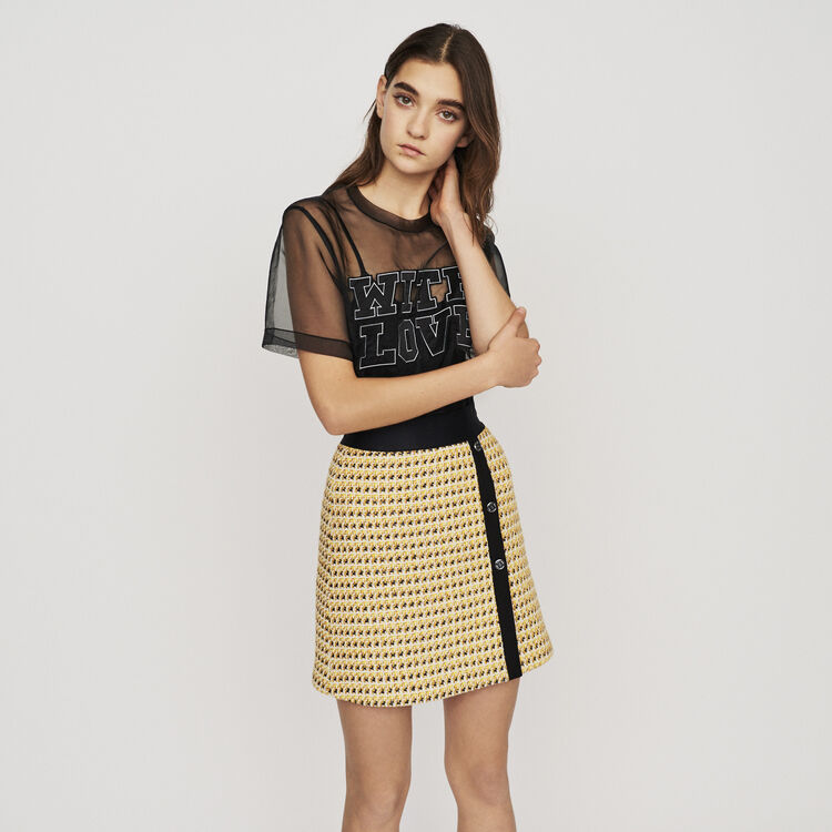 Short skirt in tweed and lurex : New in : Summer Collection color Yellow