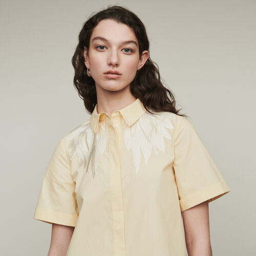 Short-sleeve embroidered shirt : Shirts color Yellow