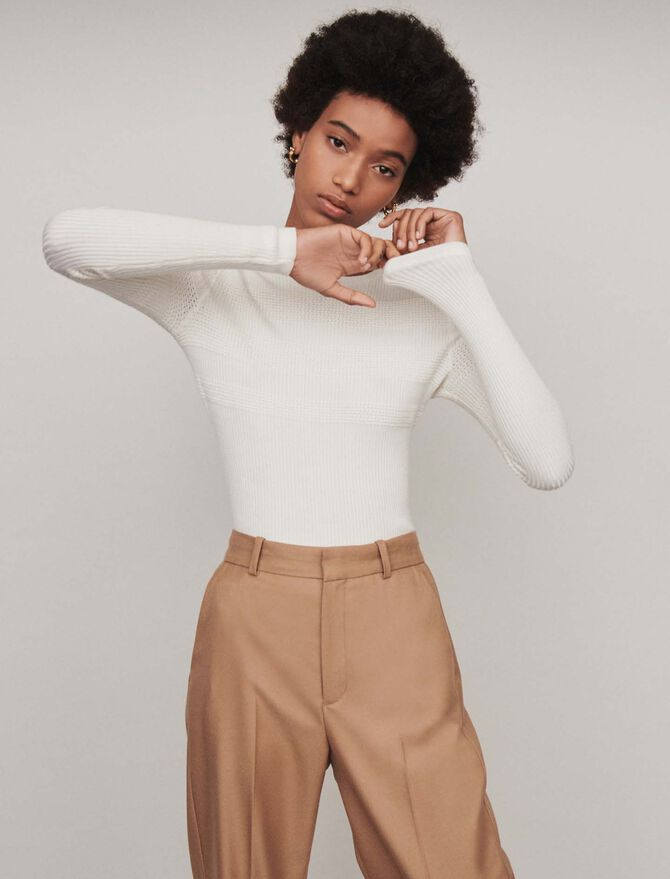 Light crewneck sweater with rib trim -  - MAJE