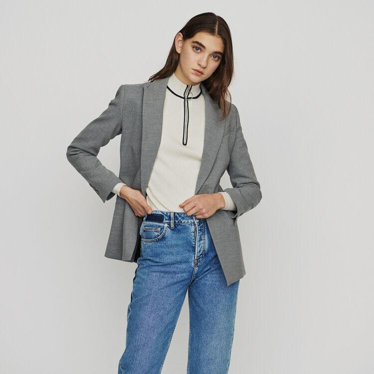 Long wool-blend blazer : Blazers color Grey