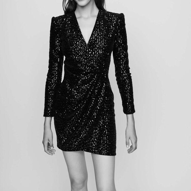 Wrap dress with velvet embroidery : Dresses color Black 210