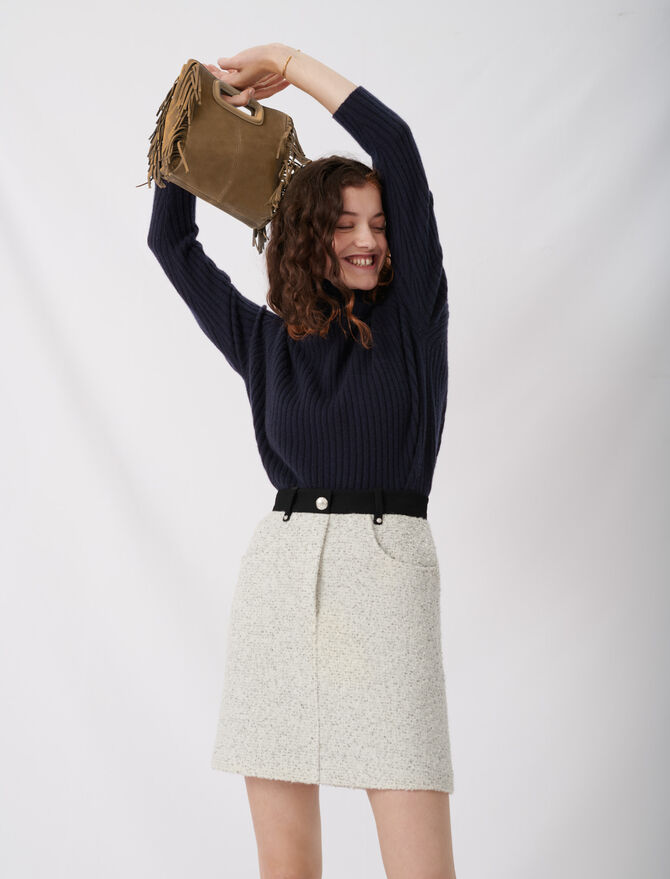 Tweed-style skirt with contrast details -  - MAJE