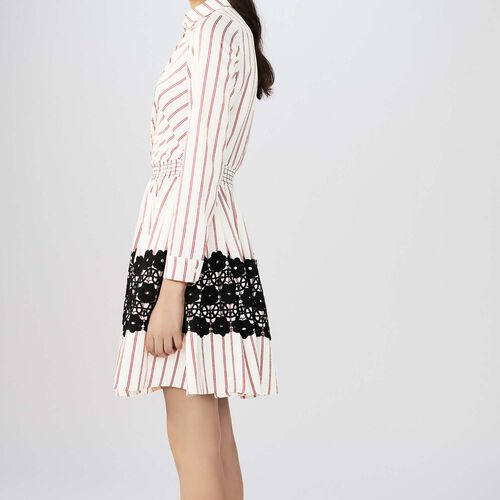 Striped shirt dress with guipure lace : staff private sale color Stripe