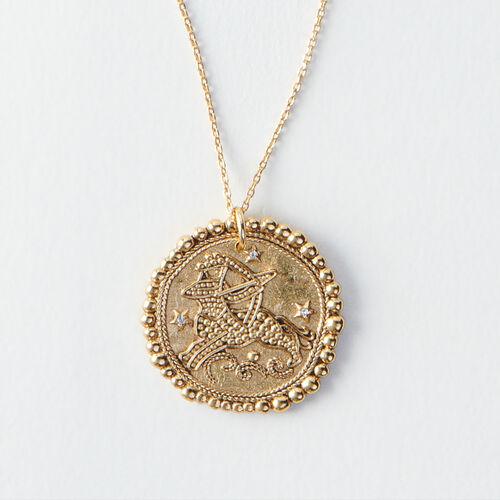 Sagittarius zodiac sign necklace : Jewelry color Old Brass