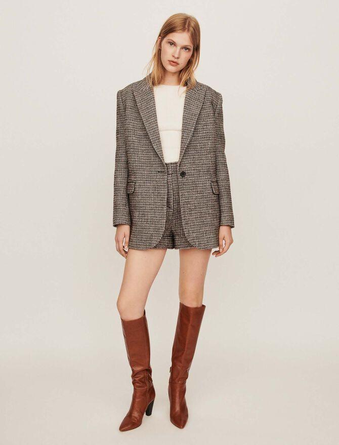 Checkered jacket-style coat -  - MAJE