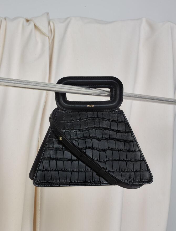 Crocodile-effect leather pyramid bag -  - MAJE
