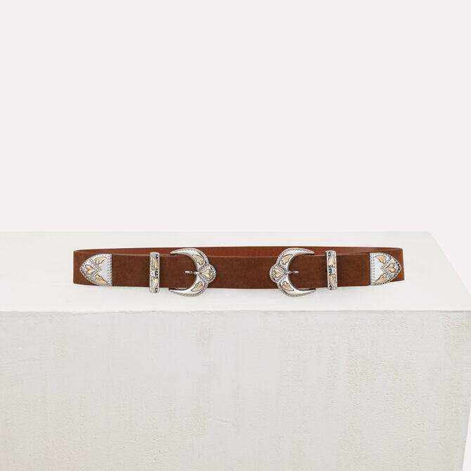 Double-buckle belt in leather - Urban Safari - MAJE