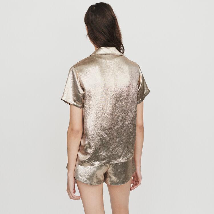 Pajama-style silk blend shirt : Tops & Shirts color Gold