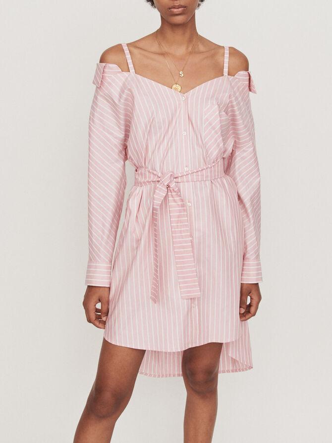 Oversized striped shirt dress -  - MAJE