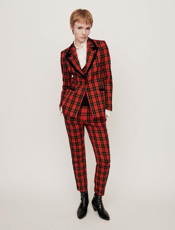Velvet piped plaid jacket - Blazers - MAJE