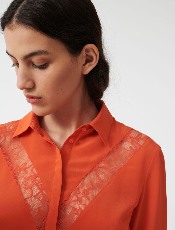 Shirt with lace inserts - Tops & Shirts - MAJE