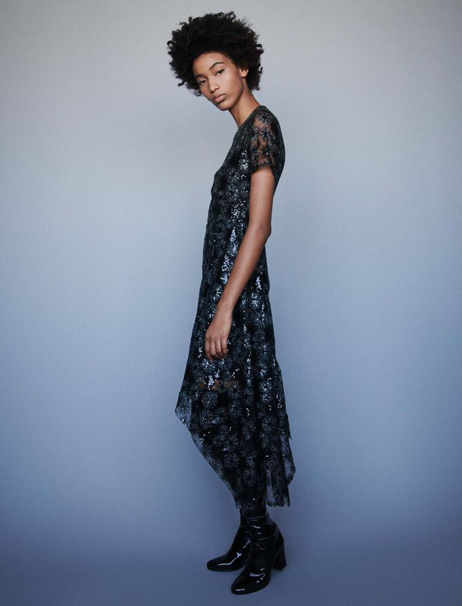 Long sequin-embroidered tulle dress - SoldesFR_40 - MAJE
