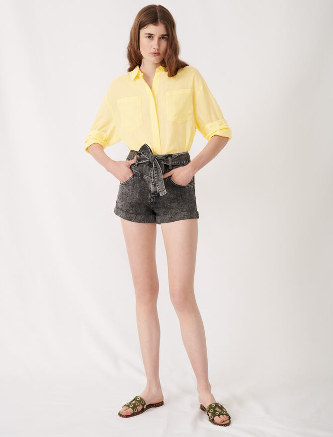 Belted faded shorts -  - MAJE