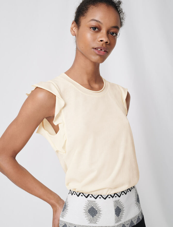 Sleeveless top with ruffles - T-Shirts - MAJE