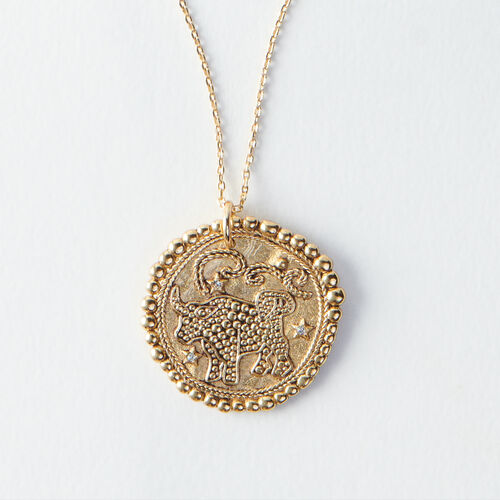 Taurus zodiac sign necklace : All accessories color Old Brass