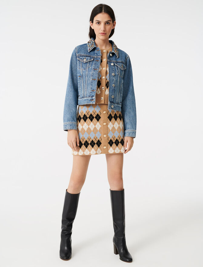Denim jacket with gem collar - Coats & Jackets - MAJE