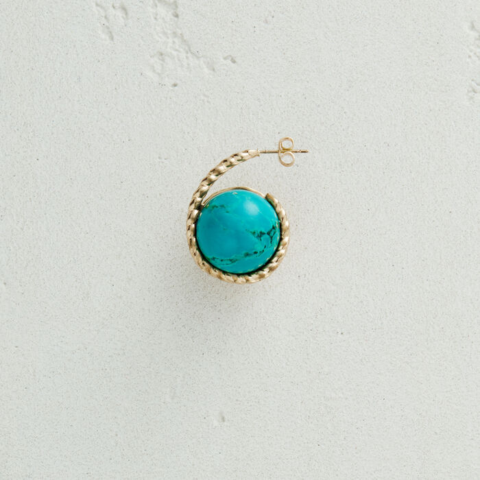 Left earring with natural stone : Jewelry color AZURE BLUE