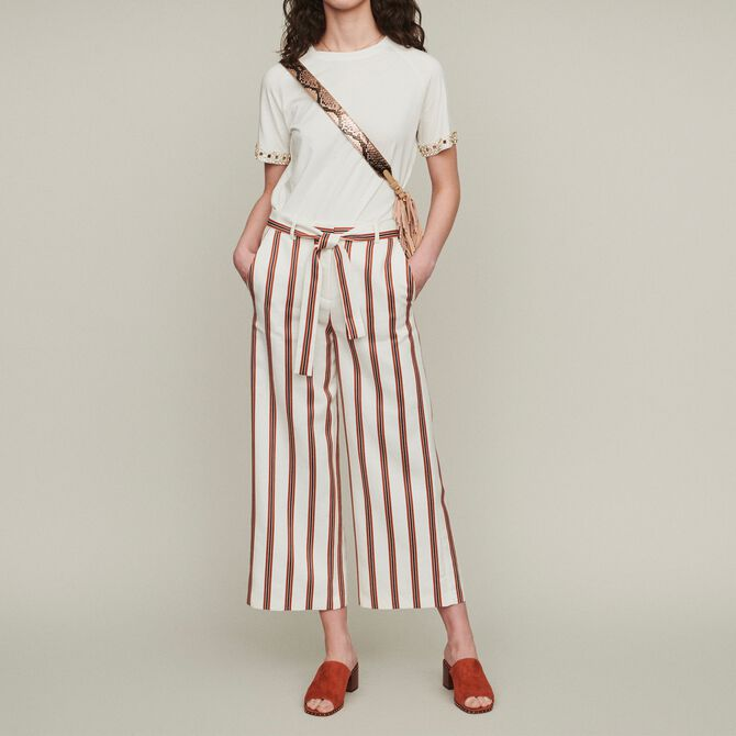 Wide striped pants with belt - Trousers & Jeans - MAJE