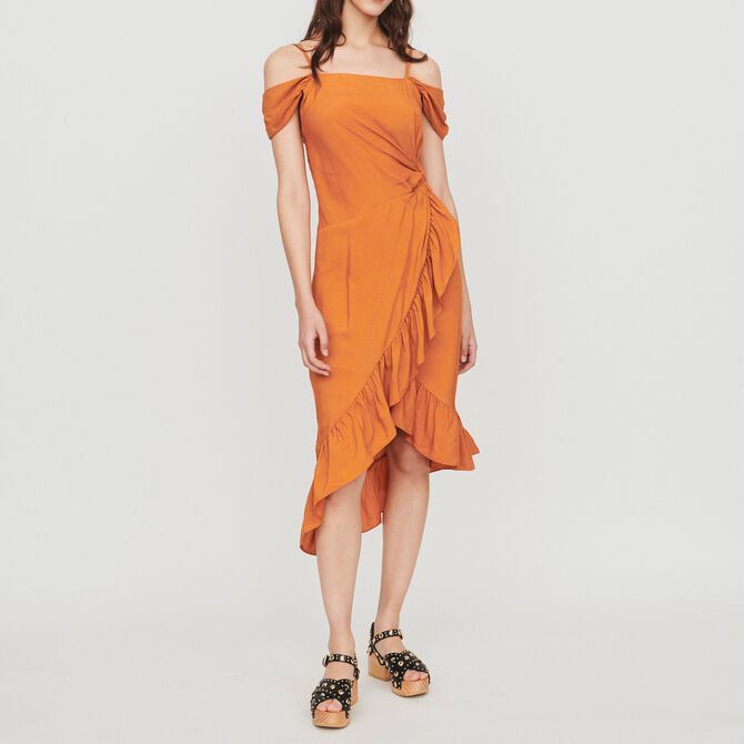 Midi wrap dress with bare shoulders - See all - MAJE