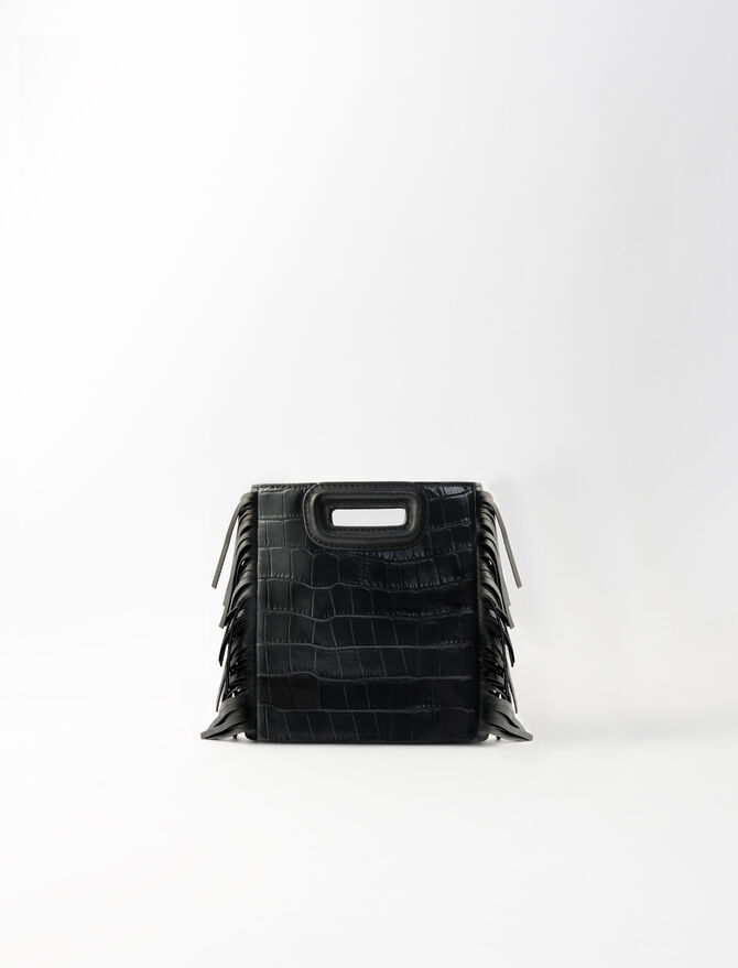 Crocodile-effect leather Mini M bag -  - MAJE