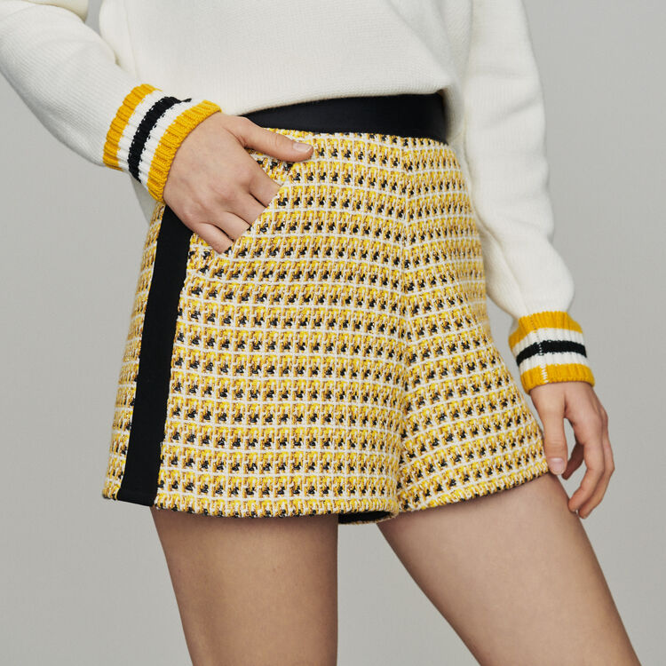Shorts in tweed and lurex : New in : Summer Collection color Yellow