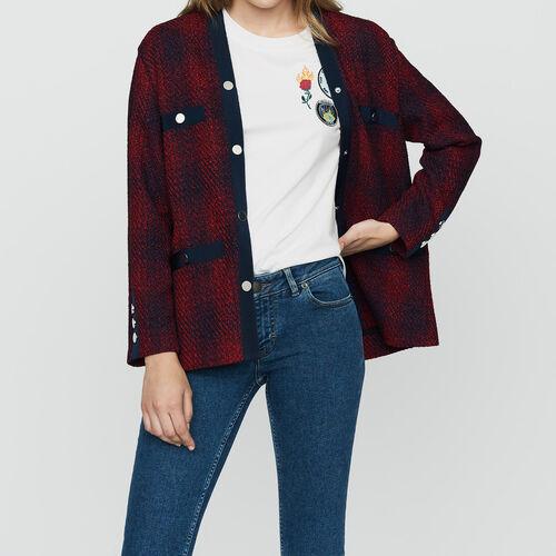 Knit tweed jacket : Blazers color CARREAUX