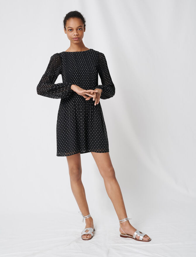 Pleated and embroidered dress -  - MAJE