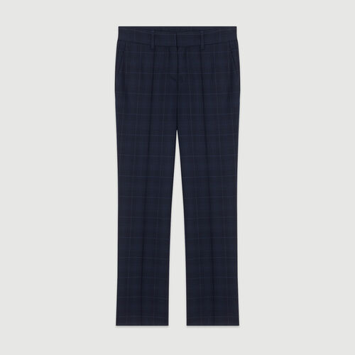 7/8 plaid trousers : Trousers & Jeans color Navy