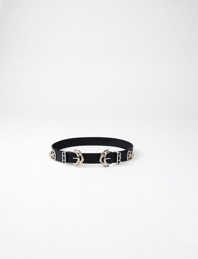 Leather belt with double buckle - Belts - MAJE