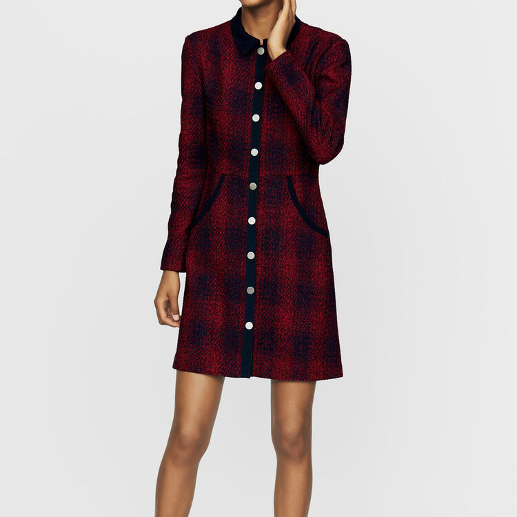 Tweed shirt dress : Dresses color CARREAUX