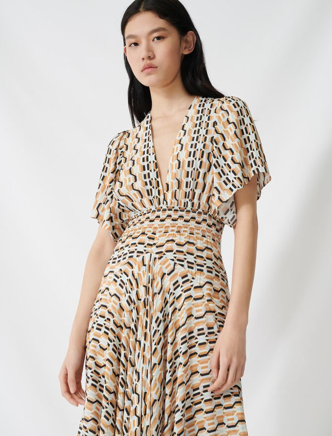 Printed scarf dress with smocked waist - Dresses - MAJE