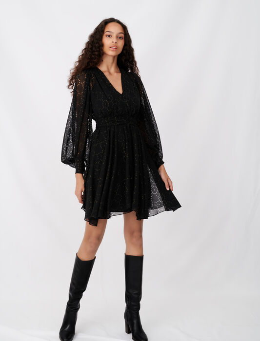 Muslin dress with openwork designs : All the collection color Black
