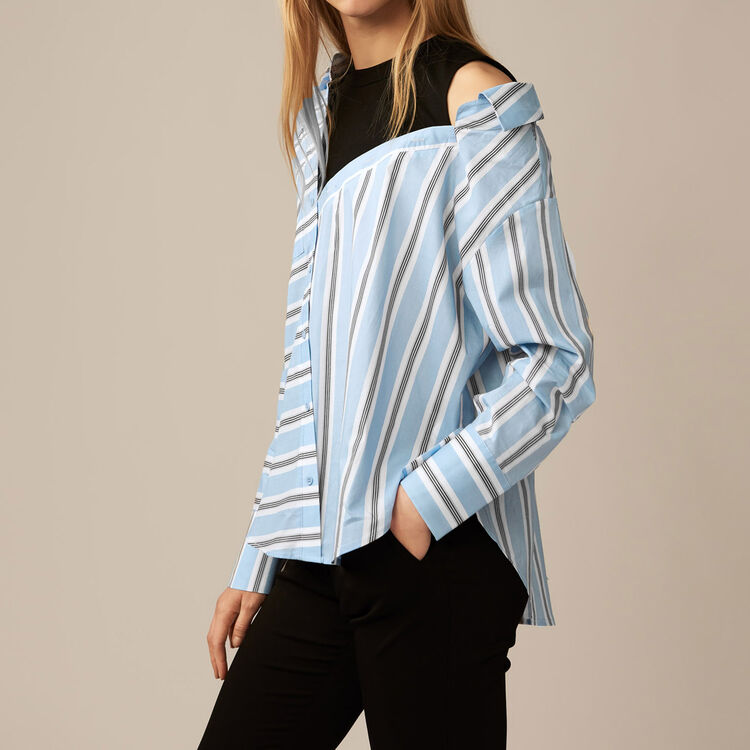 Deconstructed shirt in striped poplin : staff private sale color Blue Sky