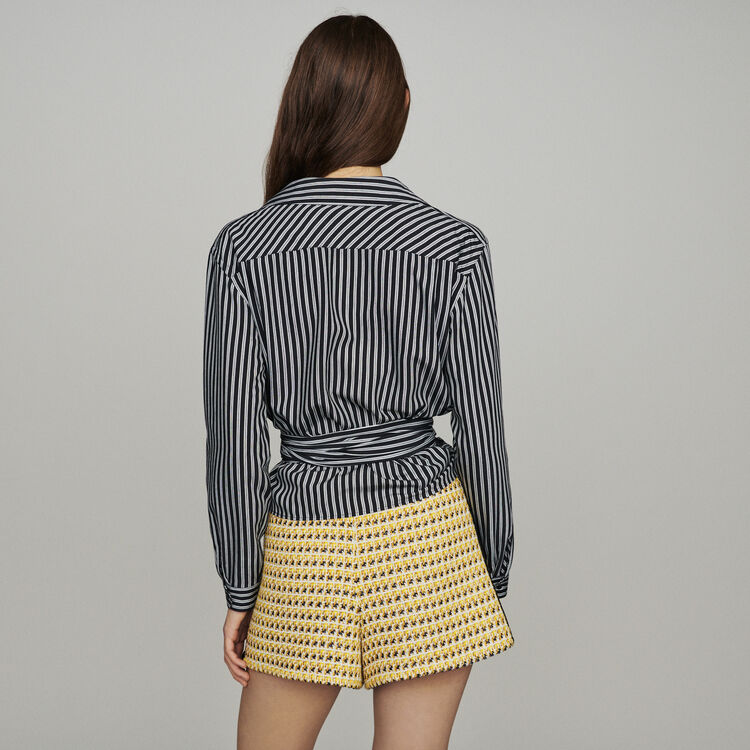 Wrap V-neck top with stripes : Tops & Shirts color Stripe