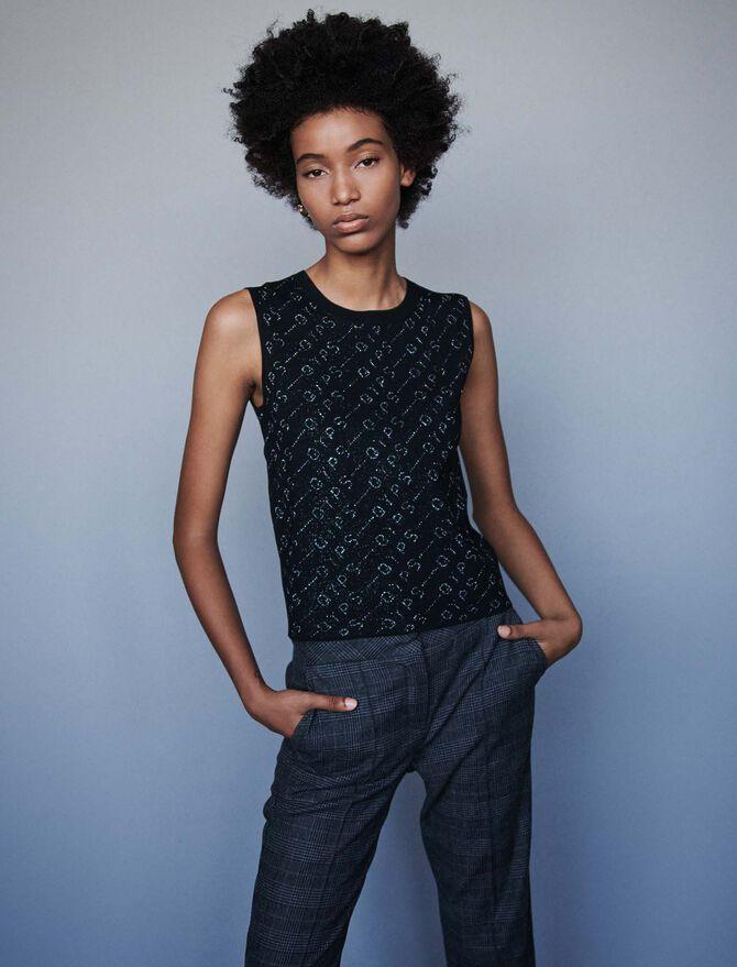Lurex jacquard sleeveless sweater - SoldesBE_50 - MAJE