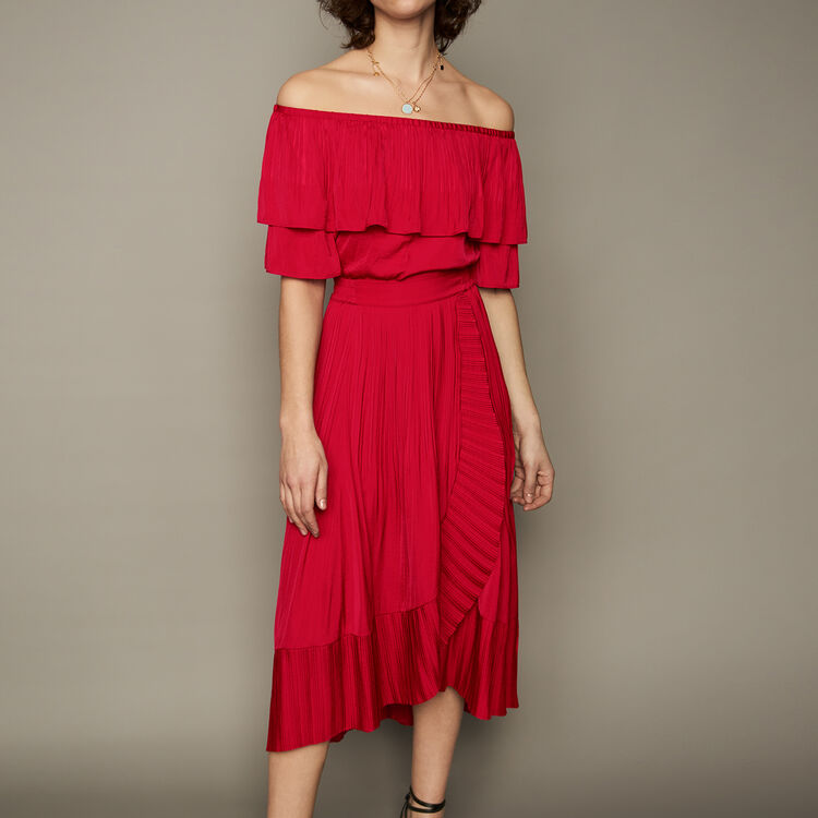 Pleated maxi wrap skirt : staff private sale color ROUGE
