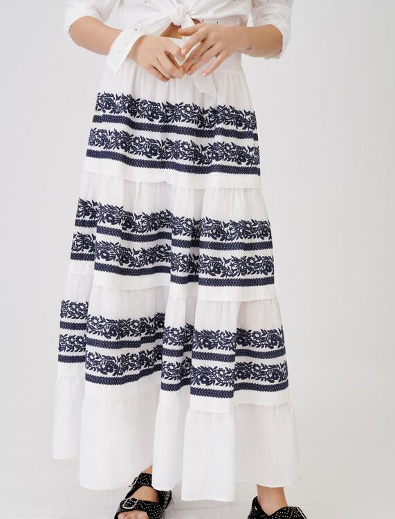 Skirt with all-over embroidery - Skirts & Shorts - MAJE