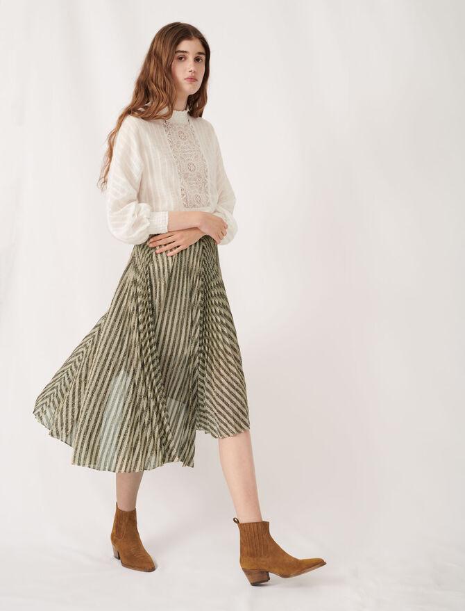 Bicolour lurex plissée midi skirt - Skirts & Shorts - MAJE