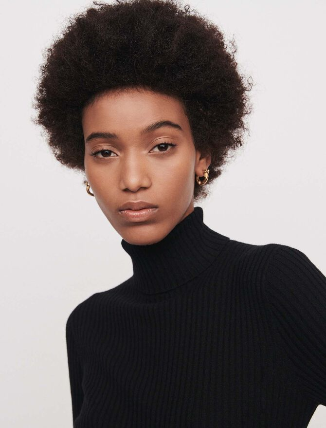 Light ribbed turtleneck sweater - Knitwear - MAJE