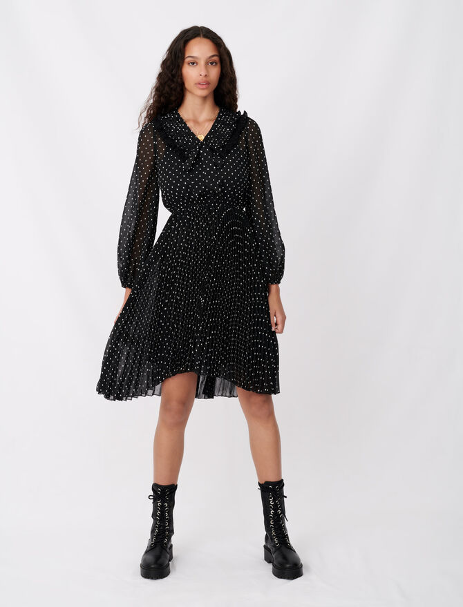 Polka dot effect pleated muslin dress - Dresses - MAJE