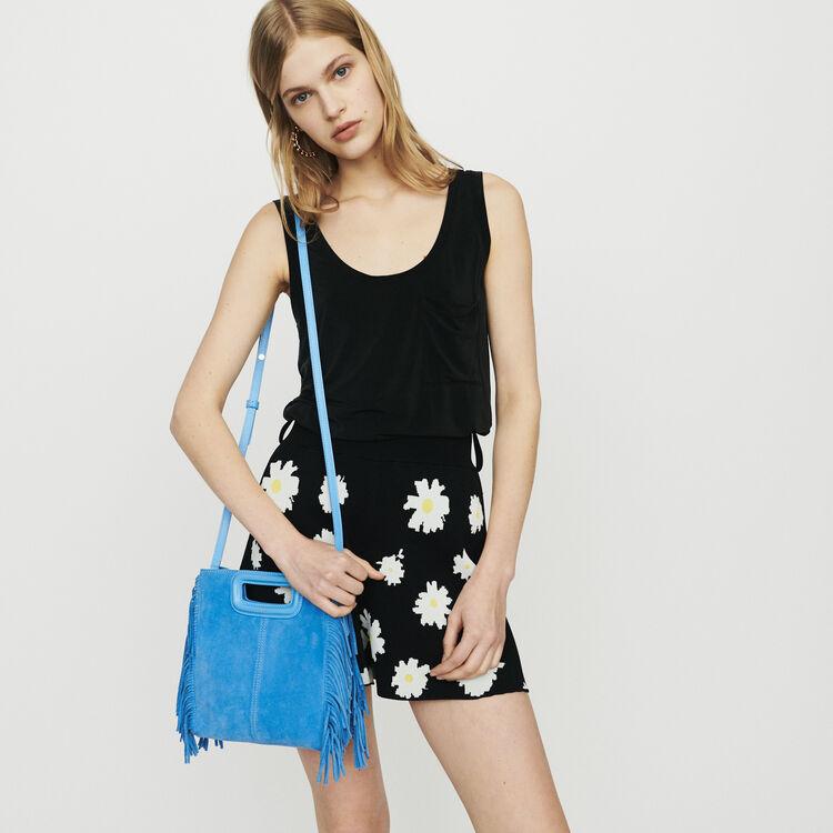 M bag with suede fringes : M bag color Blue