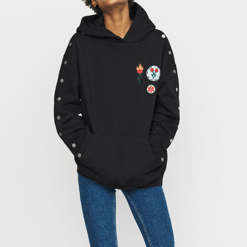 Hooded sweatshirt with pressed buttons : Sweatshirts color Black 210