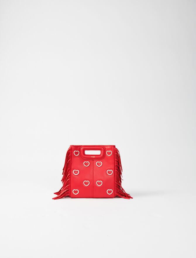 Leather mini M bag, diamanté and chain -  - MAJE